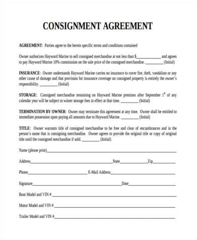 Consignment Store Contract Template by Consignment Agreement Form Sles 9 Free Documents In Pdf