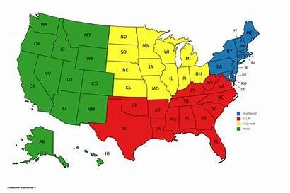 States United Regions Map Region Census Into