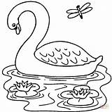 Coloring Swan Lake Popular sketch template