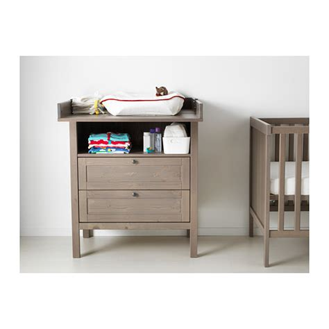 grey changing table with drawers sundvik changing table chest of drawers grey brown ikea
