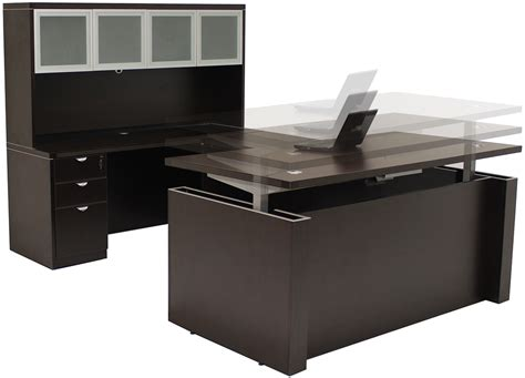 Adjustable Height Ushaped Executive Office Desk In Mocha