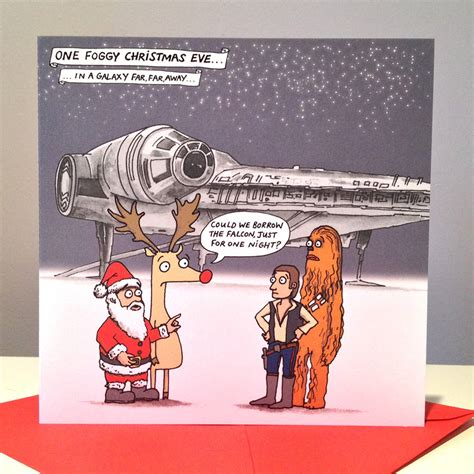 Whether you're a star wars fan or just enjoy a little giggle, you'll love these humorous illustrated christmas card. star wars millennium falcon christmas cards by cardinky | notonthehighstreet.com
