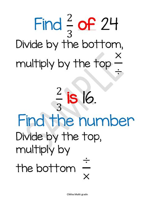 Finding Fractions Of Numbers Poster Mashie