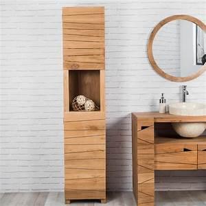 colonne de rangement en bois teck massif harmonie With colonne de salle de bain bois