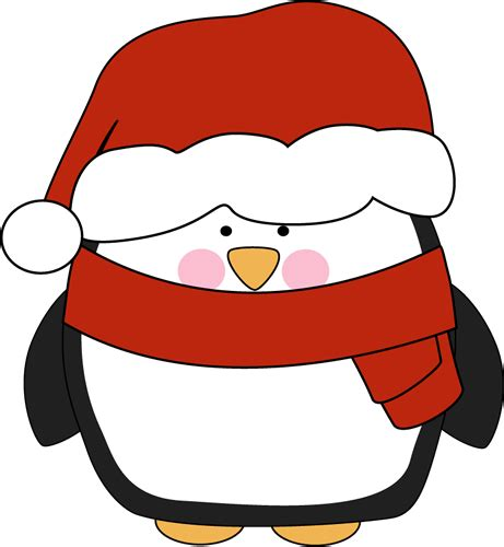 Penguin with Santa Hat Clip Art