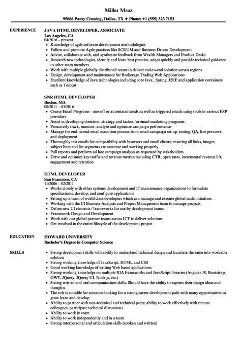 Resume Html by Html Developer Resume Sles Velvet