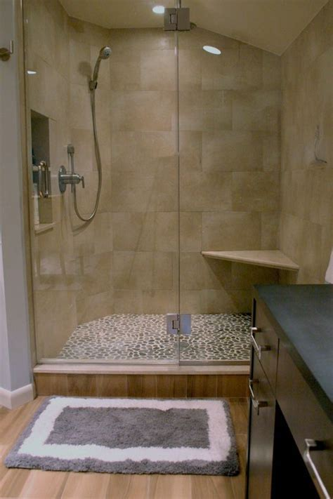 large brick porcelain shower pebble floor   Bathrooms