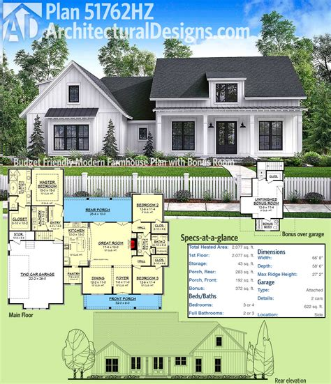 farmhouse floor plans plan 51762hz budget modern farmhouse plan with