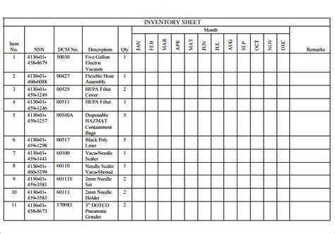 sample inventory sheet templates  google docs