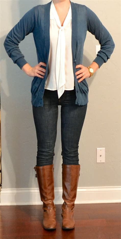 Outfit post long blue/grey cardigan tie neck blouse skinny jeans riding boots | Outfit Posts