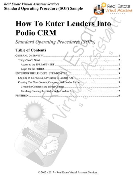 Standard Operating Procedures - Real Estate Virtual