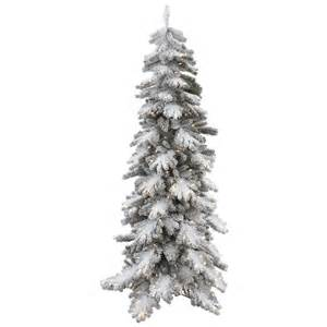 7 foot artificial vail pine flocked christmas tree clear pre lit lights r135471