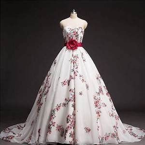 Ball gown floral printed wedding dress 2016 chapel train for Printed wedding dress