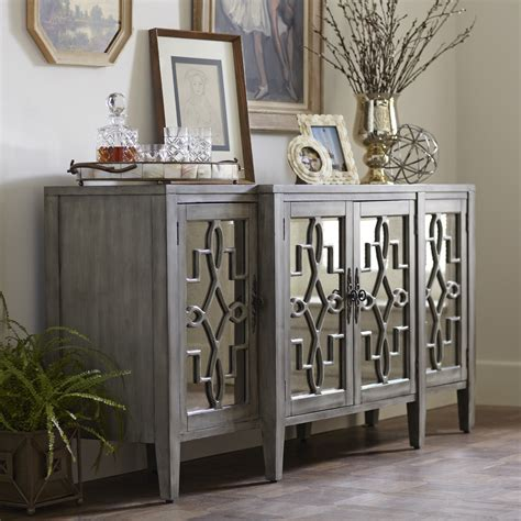 birch lane hurley mirrored credenza this mirrored four door credenza features antique mirrored