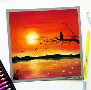 Red sunset, pastel drawing by LeontinevanVliet on DeviantArt