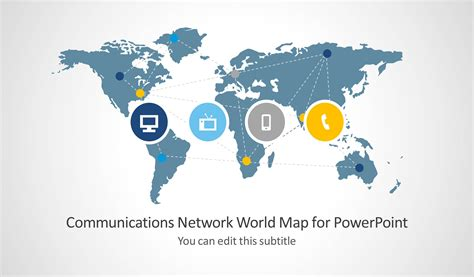 powerpoint map templates communications network template with world map for