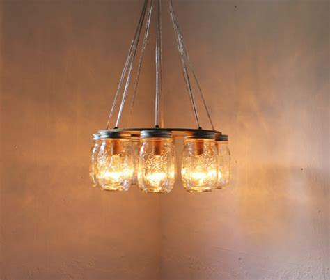 wagon wheel jar chandelier upcycled handcrafted modern