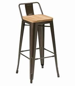 Bar Style Industriel : chaise haute de bar en bois et similicuir blanc ~ Teatrodelosmanantiales.com Idées de Décoration