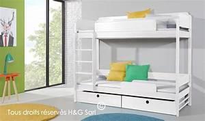 Lits Superposés Avec Rangement : lit superpos 2 places en bois blanc massif 90 x 200 cm ~ Teatrodelosmanantiales.com Idées de Décoration