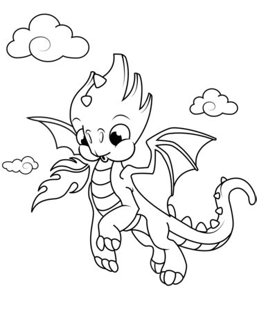 Cute Little Dragon coloring page Free Printable Coloring