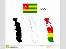Togo Map Vector, Togo Flag Vector, Isolated Togo Stock