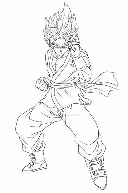 Goku Ssgss Coloring Lineart Dragon Drawing Dbz