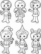 Coloriage Fille Coloring Bikini Anime Colorare Ragazze Jolie Carina Cartoon Illustrations Abbigliamento Bambine Femmine Clip Witches Halloween Ensemble Vectoriels Cliparts sketch template