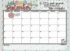 September 2016 Calendar There is confetti everywhere