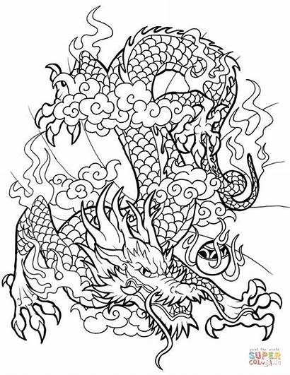 Dragon Coloring Chinese Pages Dragons Printable Sheet