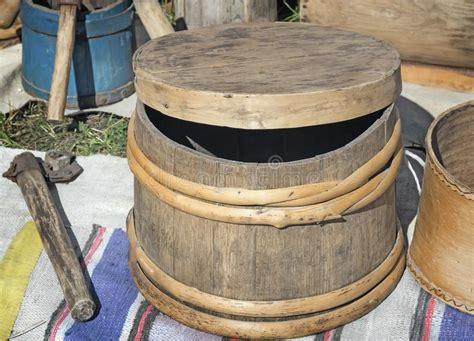 wooden oak barrels  storing wine stock photo image  beverages storage