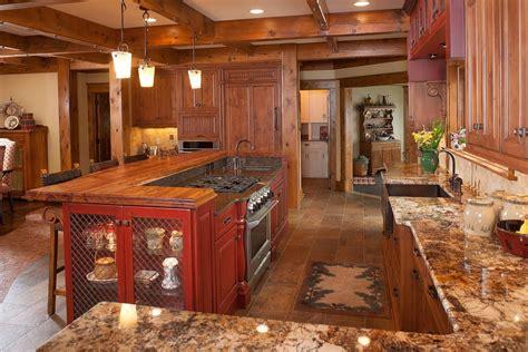 cabin kitchen island mullet cabinet rustic kitchen retreat showcasing knotty 1907