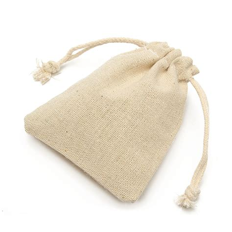 small burlap natural linen jute sack jewelry pouch