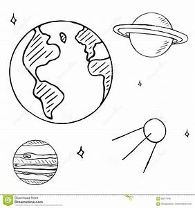 Set Of Space Doodles On White Background, Space Flight ...