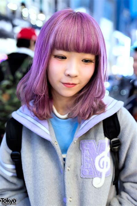 Pastel Purple Hair And Pastel Sailor Collar Varsity Jacket