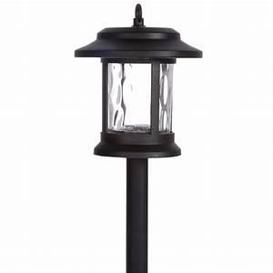 Hampton bay solar led black lantern pathway light pack