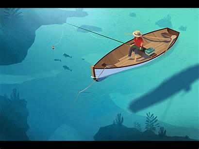 Fisherman Boat Water Animation Tiny Dribbble Icon