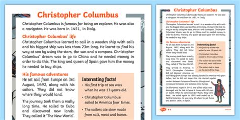 Christopher Columbus Explorer Information Sheet