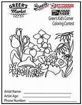 Coloring Spring Corner Adult Sheets Sheet Flower Printable Colouring Greer sketch template