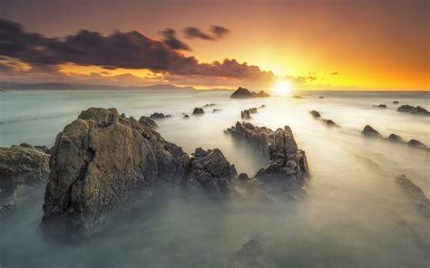 Wallpaper For by Sunset Rocky Mountain Peaks Fog Vapor Orange Sky Desktop