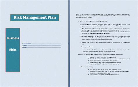 risk management plan template professional word templates