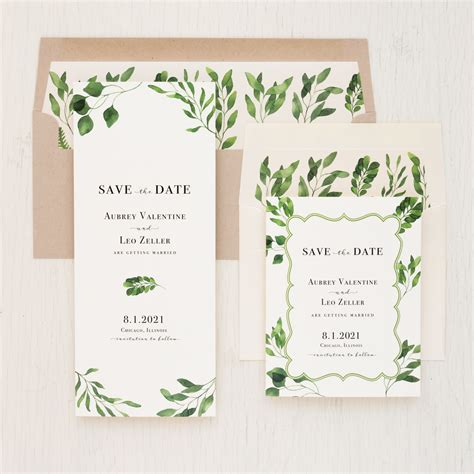 Eucalyptus Green Save the Dates Beacon Lane Wedding