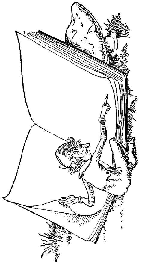kleiner wichtel vor buch ausmalbild malvorlage maerchen