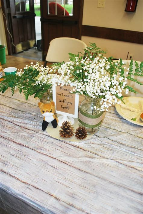 woodland theme baby shower centerpieces baby fox