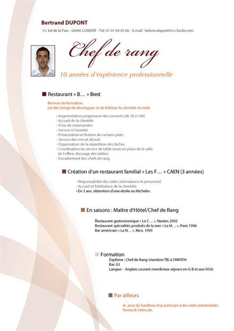 offre emploi chef de cuisine exemple de cv chef comptable