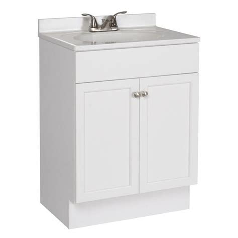 lowes small bathroom sinks shop project source white integrated single sink bathroom