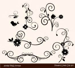 Swirl Borders Clip Art Black and White Flowers