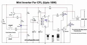 12v Cfl Inverter Circuit  Simple Cfl Inverter Circuit Diagram