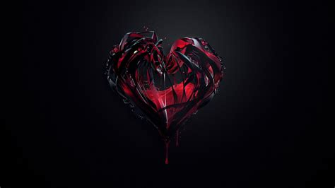 hearts, Artwork, Dark Background, Digital Art, Justin