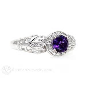 amethyst wedding ring vintage amethyst ring amethyst engagement ring halo