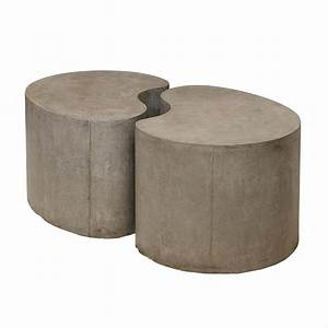 sculpted concrete gray drum coffee table With concrete drum coffee table